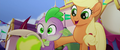 AJ pats Spike's back and he burps fire MLPTM.png