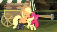 Applejack and Apple Bloom hugging S4E17
