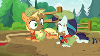 Applejack and Rara look at each other S5E24