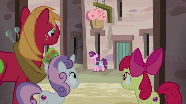 File:CMCs and Big Mac watch Sugar Belle from alleyway S7E8.png