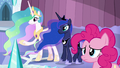 Celestia, Luna, and Pinkie looking at the storm clouds S6E2.png