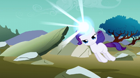 Filly Rarity being pulled along S1E23