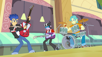 Flash Sentry and band in cafeteria EG