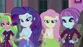 Lemon, Rarity, Fluttershy, and Sunny looking confident EG3.png