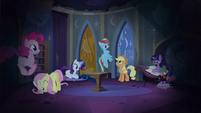 Main cast in Celestia's reading room S4E03