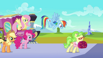 Rainbow Dash tries to get Ms. Peachbottom's attention S03E12