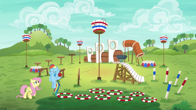 File:Rainbow and Fluttershy on the training course S6E18.png