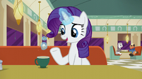 Rarity talking while levitating a teabag