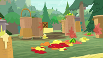 Splattered fruit squishes on the ground S9E5