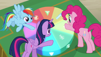 Twilight, Pinkie, and Rainbow press three buttons S7E2