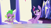 Twilight Sparkle giving a hinting grin S6E25