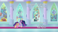 Twilight and Luster pass by stained glass windows S9E26