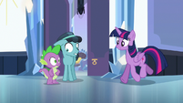 Twilight trots up to Spike and Thorax S6E16