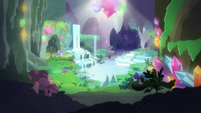 Waterfall grotto in the gem cave S7E4