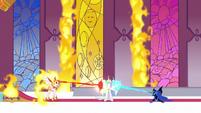 Celestia appears between Nightmare Moon and Daybreaker's blasts S7E10