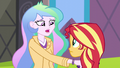 Celestia puts her hand on Sunset's shoulder EG3.png