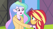 Celestia puts her hand on Sunset's shoulder EG3