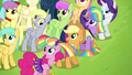 Mane 4 watching Rainbow Dash fly S4E10.png