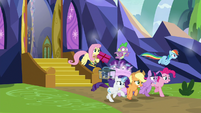 Mane Six and Spike speed past Starlight S9E26