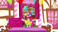 Pinkie Pie steps outside in ridiculous outfit S4E12