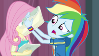 Rainbow Dash flips through script pages CYOE4