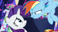 Rainbow Dash grumbling at Rarity S5E3