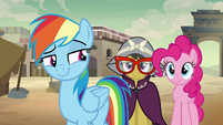 Rainbow Dash smirking at A. K. Yearling S7E18