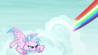 Rainbow Dash zooms away from Silverstream S9E3
