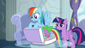 Rainbow about to pack Spike in her luggage S6E7.png