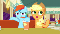 Rainbow drinking; Applejack --considers-- Twilight's remix to not be catchy S6E9