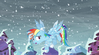 Rainbow notices her wings are covered by ice S6E2