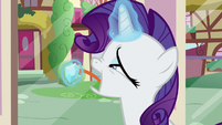 Rarity nervously licking a gem S9E19
