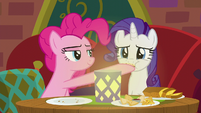 Rarity sampling Pinkie Pie's food S6E12
