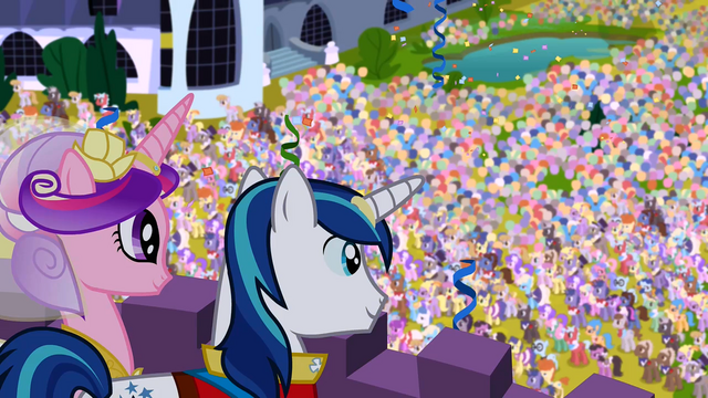 File:Shining Armor and Cadance looking down to the crowd S2E26.png