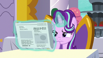 Starlight Glimmer looks at the Foal Free Press S7E10