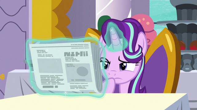 File:Starlight Glimmer looks at the Foal Free Press S7E10.png