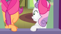 Sweetie Belle and Scootaloo hears Applejack S4E17