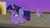 Twilight Sparkle sulking at the edge of the deck S7E22