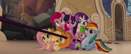 Twilight smiling as her friends look shocked MLPTM