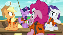 AJ, Pinkie, and Rarity look at Twilight surprised S6E22