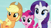 AJ, Pinkie, and Rarity looking at Twilight S8E2