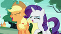 Applejack and Rarity Changelings laughing S6E25.png