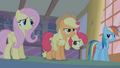 Applejack recounting how Apple Bloom saw Zecora entering Ponyville S1E09.png