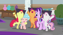 Crusaders cheering with Starlight and Cozy Glow S8E12