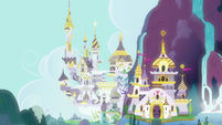 Distance view of Canterlot S8E25