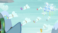 Pegasi bringing the snow clouds down from Cloudsdale S5E5
