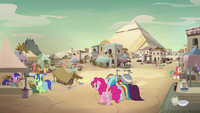 Pinkie, Rainbow, and A.K. enter Somnambula Village S7E18