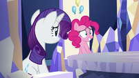 Pinkie and Rarity at their thrones; Pinkie feeling nervous S5E19