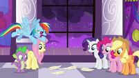 Ponies look at angel feathers on the floor S9E17