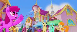 Ponies waving to Princess Twilight MLPTM